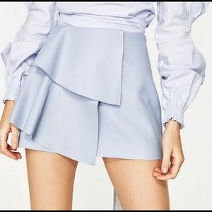 ZARA Powder Blue Leather Mini Skirt